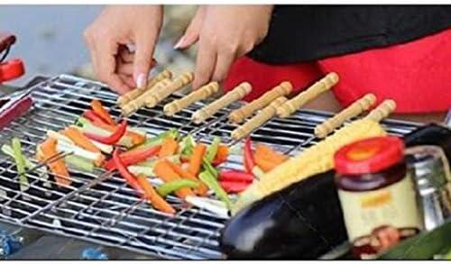 Amuzocity 10x Brochettes De Barbecue en Acier Inoxydable Manche en Bois Aiguille De Barbecue à Griller