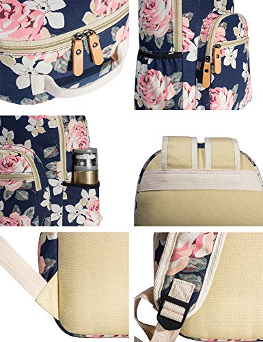 Leaper Floral Water-resistant Laptop Backpack College Bags Daypack Dark Blue by Leaper (Image #7)