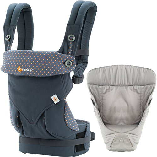 Ergobaby 4 Position 360 Carrier, Dusty Blue with Easy Snug Infant Insert, Grey by ERGObaby (Image #5)