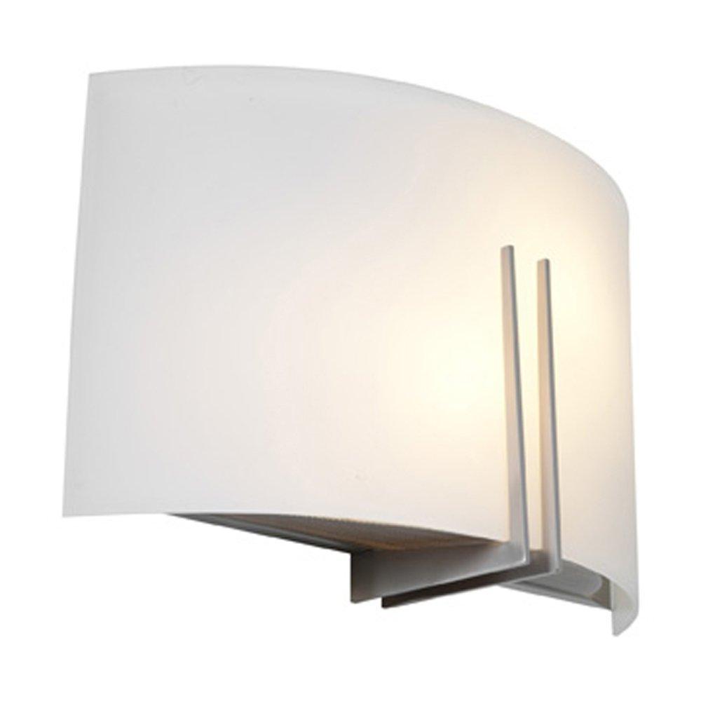 Prong - Vanity - Brushed Steel Finish - White Glass Shade