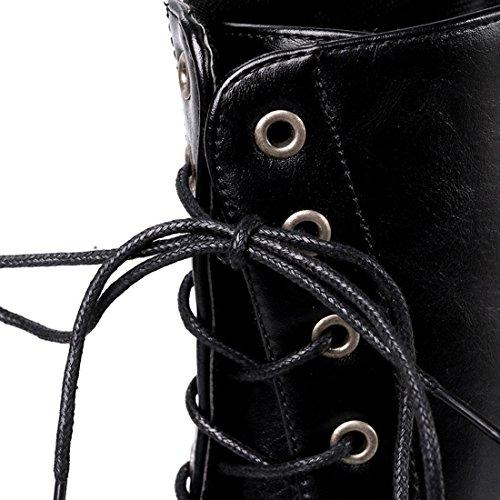 YE Damen Blockabsatz Ankle Boots Gefütterte Schnürstiefeletten Plateau mit Schnürsenkel Bequem Warm Schuhe Schwarz