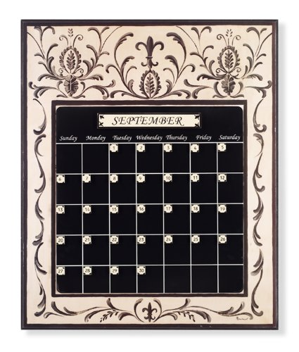 Stupell Home Magnetic Tile Perpetual Calendar, Black and Crme, 23 by 19-Inch