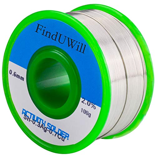 (0.6mm,100g) Lead-free Solder Wire Flux-core Solder Welding Wire Electrical Soldering with Rosin Core,Sn99 Cu0.7 Ag0.3 0.22 lbs