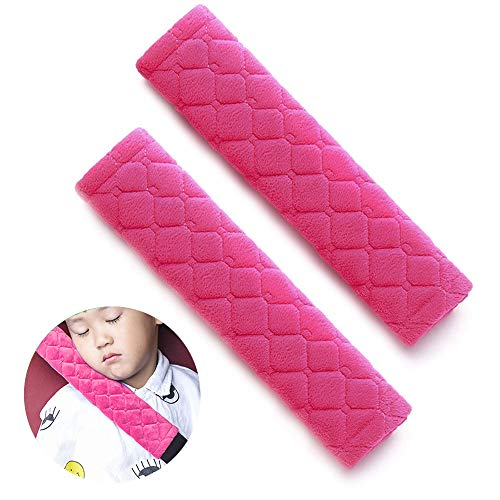 Seat Release Strap - surpassme Car Seat Belt Pads Cover, 2 Pack Seat Belt Shoulder Strap Covers Protector to Release Stress to Your Neck and Shoulder for a Safety Driving (Pink)