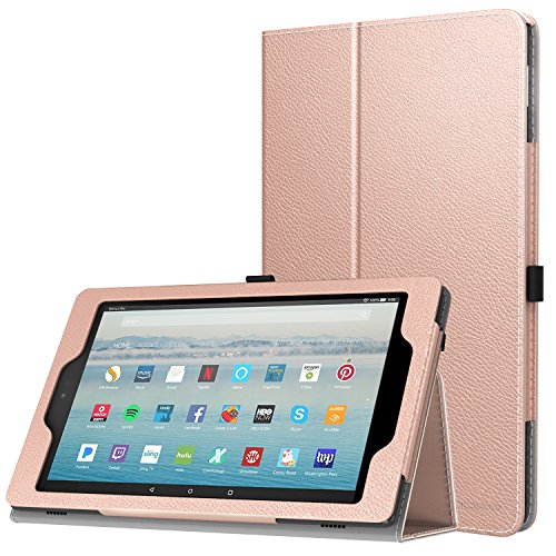 MoKo Case for All-New Amazon Fire HD 10 Tablet (7th Generation, 2017 Release) - Slim Folding Stand Cover with Auto Wake / Sleep for Fire HD 10.1 Inch Tablet, Rose - Viewing Personal Glasses