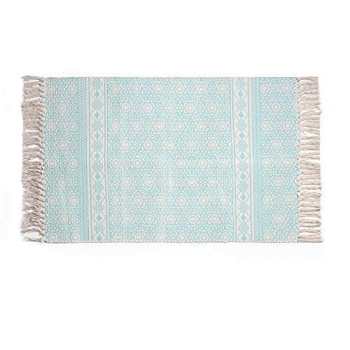 Cotton Printed Rug, Seavish Decorative Seafoam Diamond with Tassels Kilim Rug Hand Woven Rag Rug Entryway Thin Throw Rug 2x3 for Living Room Laundry Room Dorm