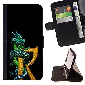 BullDog Case - FOR/LG OPTIMUS L90 / - / dragon R letter black gold fantasy book /- Monedero de cuero de la PU Llevar cubierta de la caja con el ID Credit Card Slots Flip funda de cuer