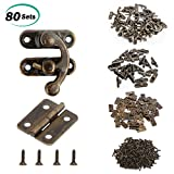 #3: Alcoon 50 Sets Antique Bronze Mini Hinges and 30 Sets Antique Right Latch Hook Hasp with Replacement Screws for Wood Jewelry Box - Bronze Tone