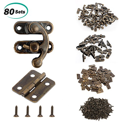 Alcoon 50 Sets Antique Bronze Mini Hinges and 30 Sets Antique Right Latch Hook Hasp with Replacement Screws for Wood Jewelry Box - Bronze Tone