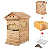 Seeutek 2-Layer Bee Hive Boxes with Honeycomb Frames and 7pcs Auto Flow Bee Hive Beehive Kits for for Beekeepers Bee Keeping Tool Box