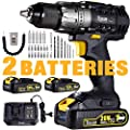 "Cordless Drill/Driver 20V Max, TECCPO Professional 60Nm Power Drill with 2X2.0Ah Batteries, 1/2"" Keyless Chuck, 24+1 Torque Setting, 2-Speed, LED Light, 29pcs Accessories - TDCD03P"