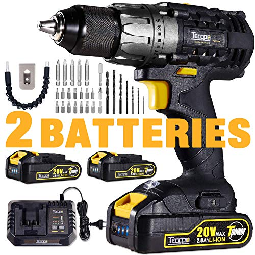 Drill, 20V Cordless Drill Driver 2x2000mAh Batteries, 30Min Fast Charger 4.0A, 29pcs Accessories, 24+1 Torque Setting, 2-Variable Speed Max Torque 530 In-lbs, 1/2
