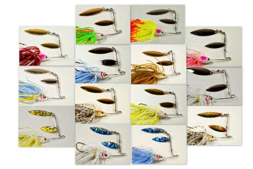 Akuna Elite Spinnerbaits with Matching Silicone Skirts and Holographic Painted Blades (Pack of 14), 1/2-Ounce
