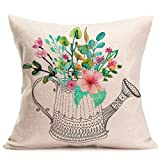 Esharing Clearance❤️ Home Decor Decorative Spring Square Cotton Linen Throw Pillow Cover Case Zippered Wallpaper illustrations Flower Sofa Waist Coach Pillowcase Cushion Cover, 18x18 Set of 1 (A)