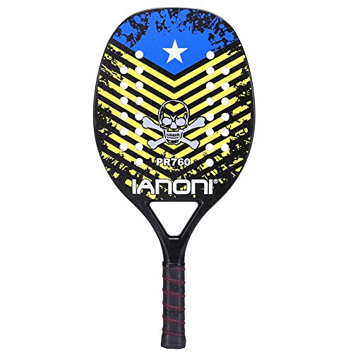 ianoni Beach Tennis Racket,Carbon Fiber Grit Face with EVA Memory Foam Core Beach Tennis Racket (PR760)