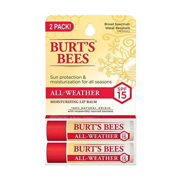 Burt's Bees 100% Natural All-Weather SPF15 Moisturizing Lip Balm, Water Resistant – 2 Tubes