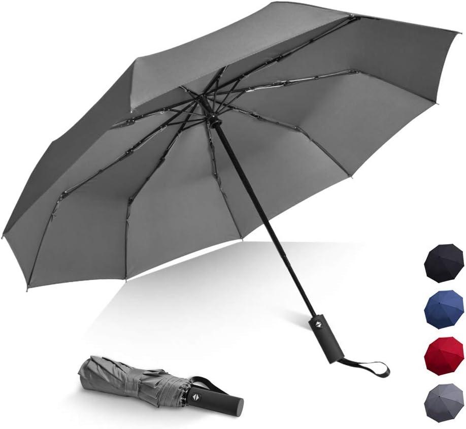 Sun/&Rain Protection Upgrade Ergonomic Long Handle Brainstorming Travel Umbrella Windproof Folding Umbrella with Teflon Coating Auto Open Close Lightweight Umbrella with 9 Fiberglass Ribs 46 Inch