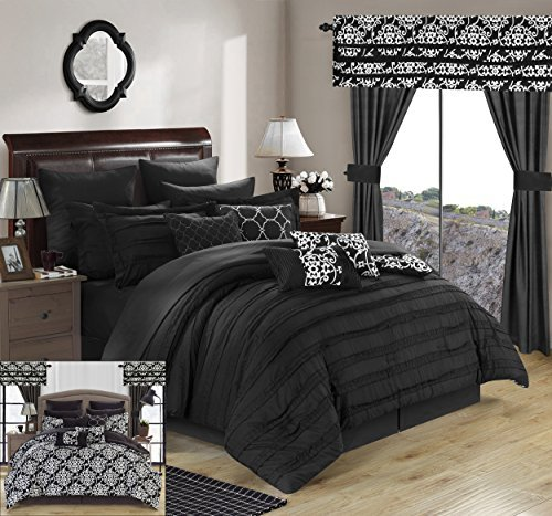Chic Home 24 Piece Hailee Complete Pleated Ruffles and Reversible Printed Bed in a Bag Comforter Set with Window Treatment, Queen, Black