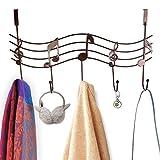 vivian Over the Door Hanger Rack 5 Hooks Decorative Metal Music Hanger Holder Hook Organizer Rack for Home Office Use (Brown)