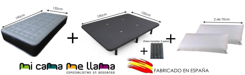 Dulces Sueños Pack COLCHON VISCOELASTICO Premium + Base TAPIZADA 3D + Patas + 2 Almohadas VISCO (135 x 190) PROMOCIÓN: Amazon.es: Hogar
