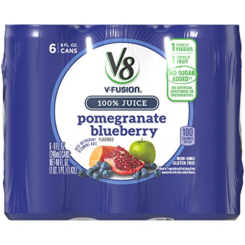 Fusion Ice - V8 Pomegranate Blueberry, 8 oz. Can (4 packs of 6, Total of 24)