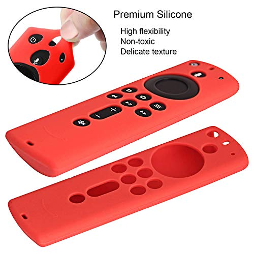 [2 Pack] Remote Case Cover Compatible with Fire TV Stick 4K Remote Control - Pinowu Anti Slip Case (Red+ Turquoise)