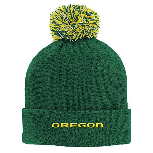 NCAA by Outerstuff NCAA Oregon Ducks Kids Primary Basic Cuff Knit Hat w/ Pom, Dark Green, Kids One Size