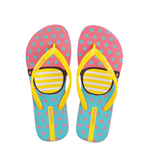 sses Printing Summer Colorful Beach Slippers Flip Flops Sandals Size 7 B(M) US / 38 EU / 39 CN, Glasses Yellow ()