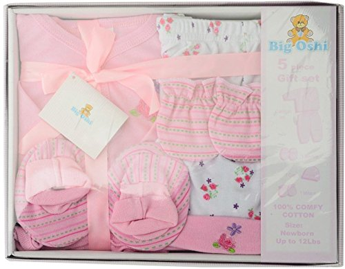 Big Oshi Unisex-baby Layette 5 Piece Gift Set, Pink, 0-3 Months