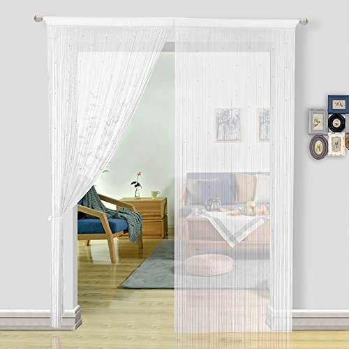 Glass Beaded Curtain - HSYLYM String Curtains for Living Room White Curtains Room Decor Beaded Door Curtains Decoration for Kitchen(100x200cm,White)