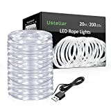 Ustellar Flexible LED Rope Lights USB Operated, 20m 200 Micro LEDs, IP65 Waterproof Copper Wire Fairy Lights, Outdoor LED String Lights for Garden Tree Christmas Wedding Decoration, 5V Daylight White