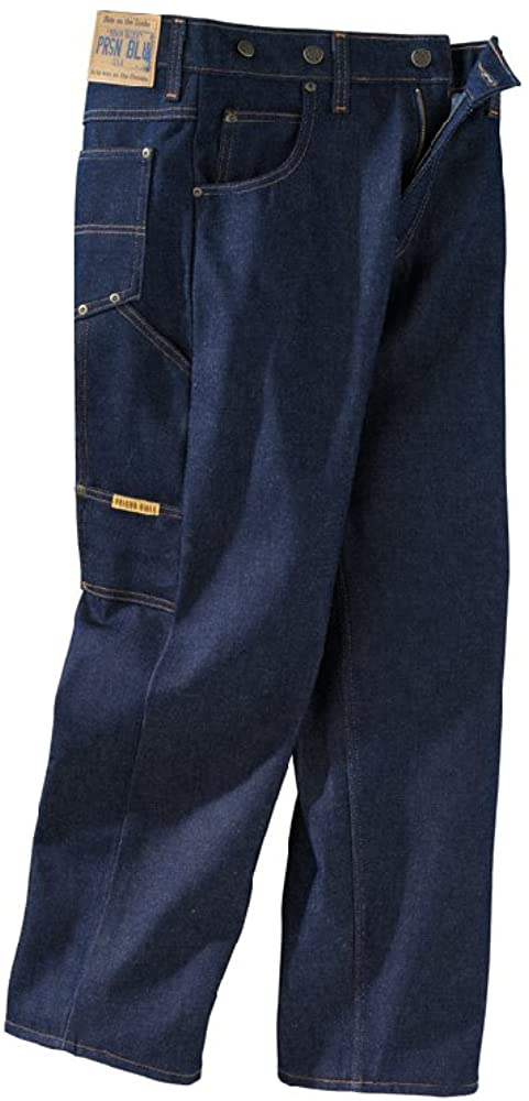 Men's Vintage Pants, Trousers, Jeans, Overalls Prison Blues Mens Work Jeans (7 Pocket) Without Suspender Buttons $45.20 AT vintagedancer.com