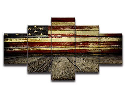 Wall Pictures for Living Room Paintingg on Canvas Print Retro Vintage American USA Flag and Wooden Modern 5 Piece Framed Posters and Prints Giclee Print Gallery Wrap Artwork Stretched(50''W x 24''H)