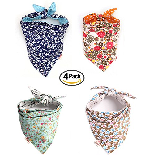 Combofix-4-Pack-Cute-Dog-Bandana-Multi-Coloured-Scarves-Accessories-for-Pet-Cats-and-Puppies