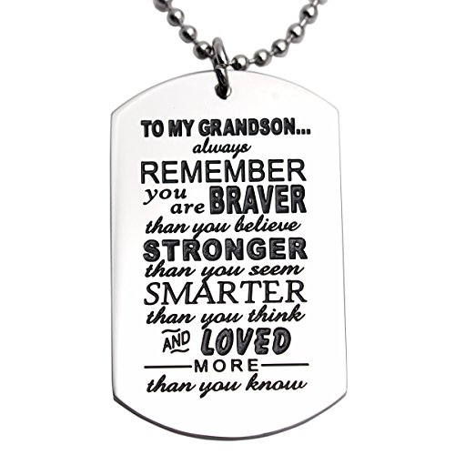 Grandson Gifts From Grandma Grandma Nana Grandparents You Are Braver Than You Believe Necklace Jewelry For Kids Pendant Dog Tag (Pendant Sports Tag Necklace)