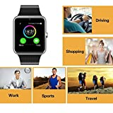Smart Watch Call Sync and Handfree for Android 4.2 or above and iPhone 5s/6/6s/7/7s (Silver) by Heshi Inc