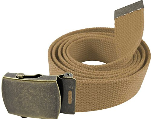 """Enimay 56"""" Military Army Style Canvas Web Belt w/ Brass Roller Buckle"""