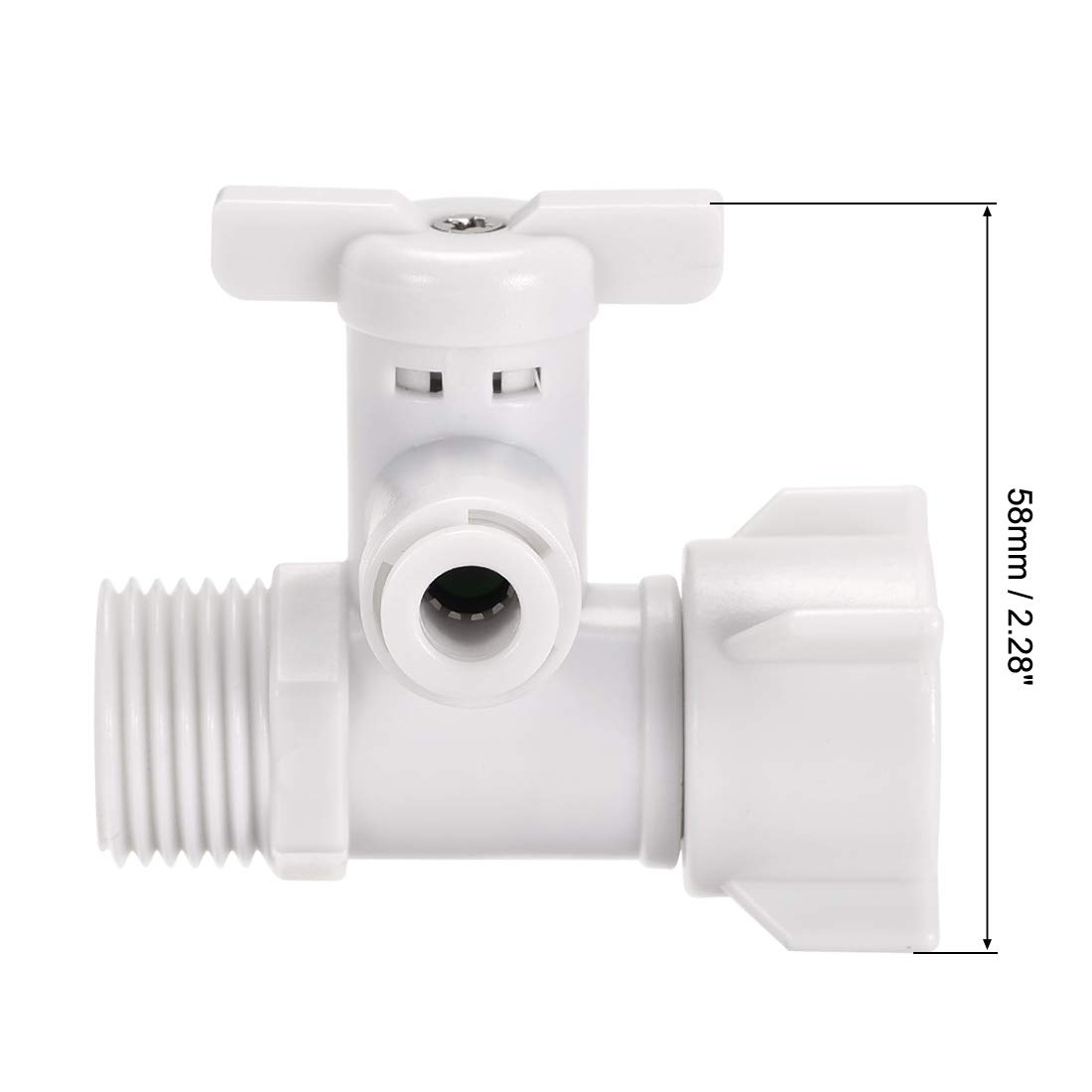sourcing map Angle Stop Adapter Valve Push-to-Connect 1//4 Tube Outer Diameter G1//2 Male to Female Thread for Water Purifiers White
