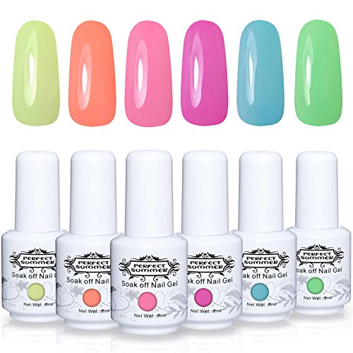 Perfect Summer Gel Polish 6PCS Neon Colors Gel Nail Soak Off UV LED Manicure Bright Color Starter Kit 8ML 019