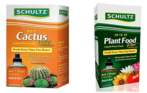 Schultz Cactus and All Purpose Liquid Plant Food Gardening Kit: 2 Items - 4 ounces (Schultz Potting Soil)