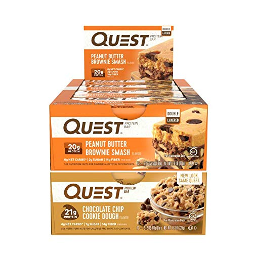 - Quest Nutrition Protein Bar Chocolate Chip Smash-Up (Smashbar + Chocolate Chip Cookie Dough). Low Carb Meal Replacement Bar w/ 20g+ Protein. High Fiber, Soy-Free, Gluten-Free (24 Count)