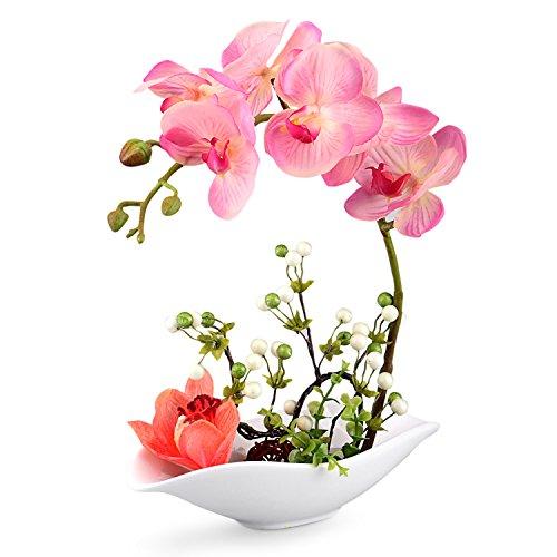 Louis Garden Artificial Silk Flowers 7 Head Simulation Phalaenopsis Bonsai (Simulation of Water) (Pink)