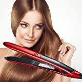 Waker WK-HS01 Professional Ceramic Titanium Ionic Digital LCD Flat Iron Hair Straightener, Red