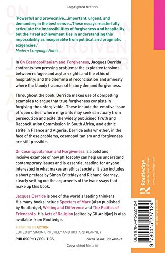 on cosmopolitanism and forgiveness jacques derrida  on cosmopolitanism and forgiveness jacques derrida 9780415227124 books amazon ca