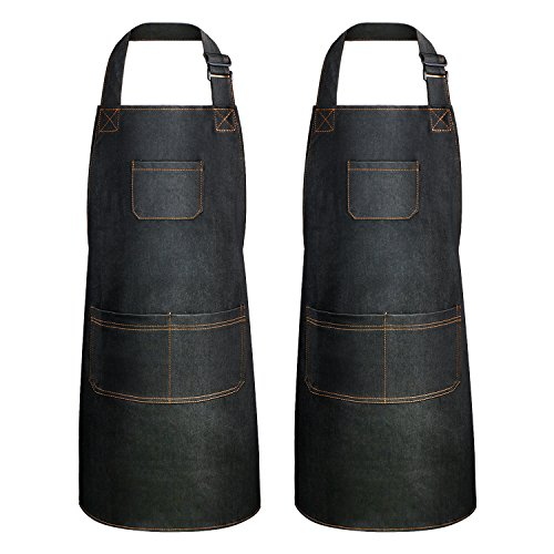 Landisun Chef Apron for Men Women 2 Pack Adjustable Work Denim Apron for Cooking Kitchen Art BBQ with 3 Pockets,BLACK by Landisun