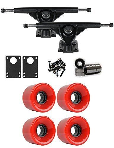 RKPブラックLongboard Trucksホイールパッケージ59 mm x 43 mm 83 a 186 Cレッド [並行輸入品]   B078WVGYV2