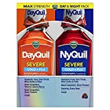 Vicks NyQuil and DayQuil SEVERE Cough, Cold & Flu Relief Liquid, 2x12 Fl Oz Combo, Relieves Sore Throat, Fever, and Congestion, Day or Night