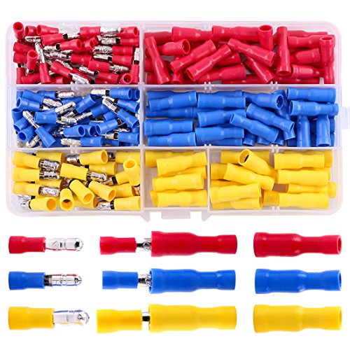 Hilitchi 160pcs Bullet-Famle/Male Insulated Terminals Electrical Wiring Wire Crimp Connectors Set by Hilitchi