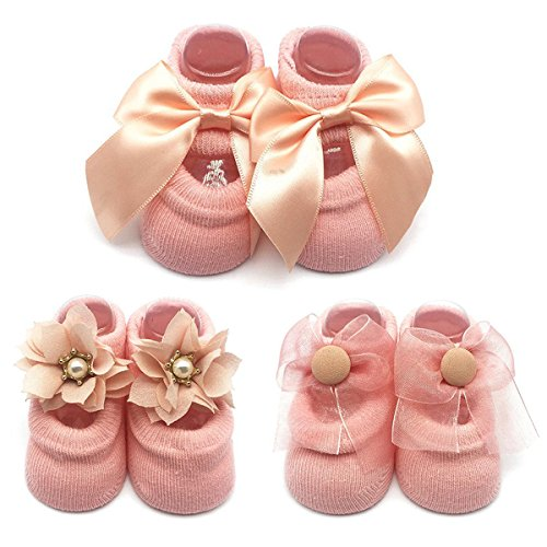 Cozy Cotton Flower Pearl Bowknot Lace Jane Socks with Grip for Newborn Infant Baby Girl 6-12 months Leekey 3 Pack … from Leekey