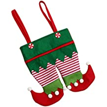 10×Christmas Santa Elf Suspenders Stocking Pants Candy Treat Gift Bag For Children Red Green (10pcs, Green)